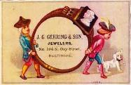 c. 1890 J.G. Gehring & Son Trade Card