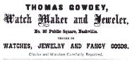 1860 Thomas Gowdey Advertisement