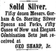 1876 George Sharp Jr. Ad